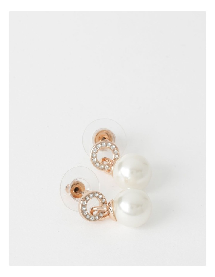 Pave Faux Pearl Drop Rose Gold Earrings image 1