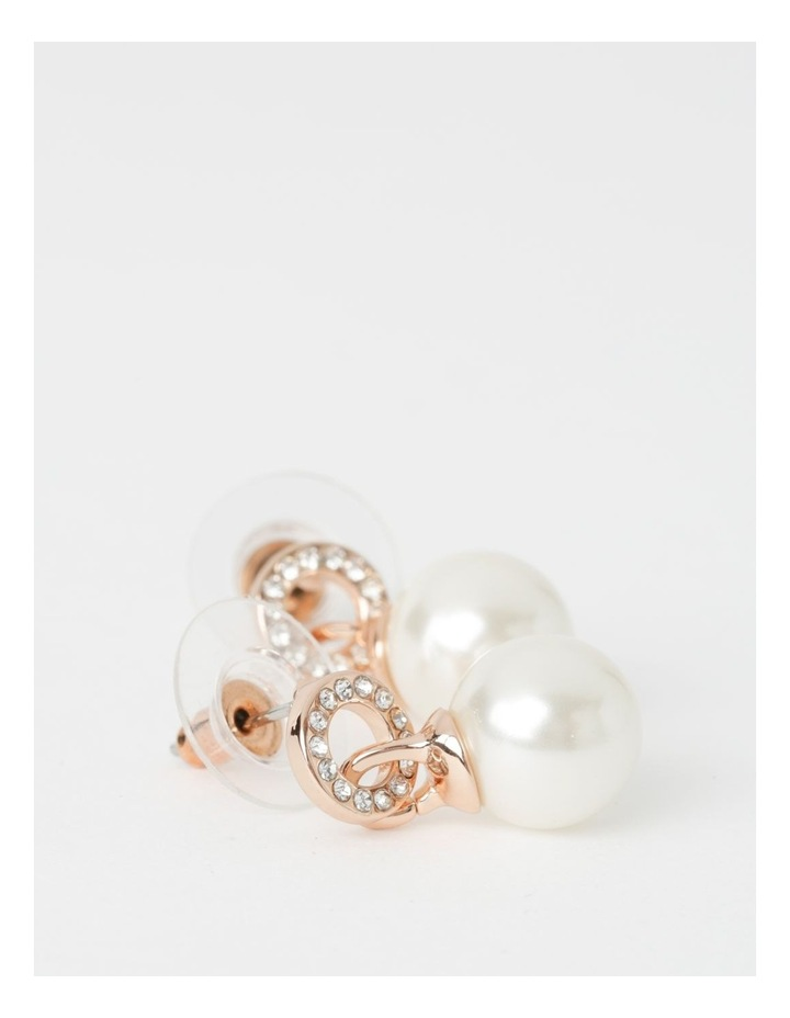 Pave Faux Pearl Drop Rose Gold Earrings image 2