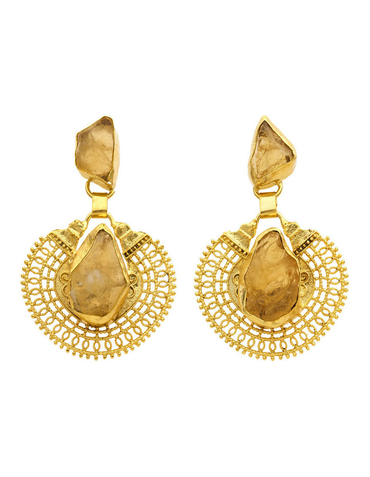 Gold Plate Drop Earrings with Citrine Centre image 1