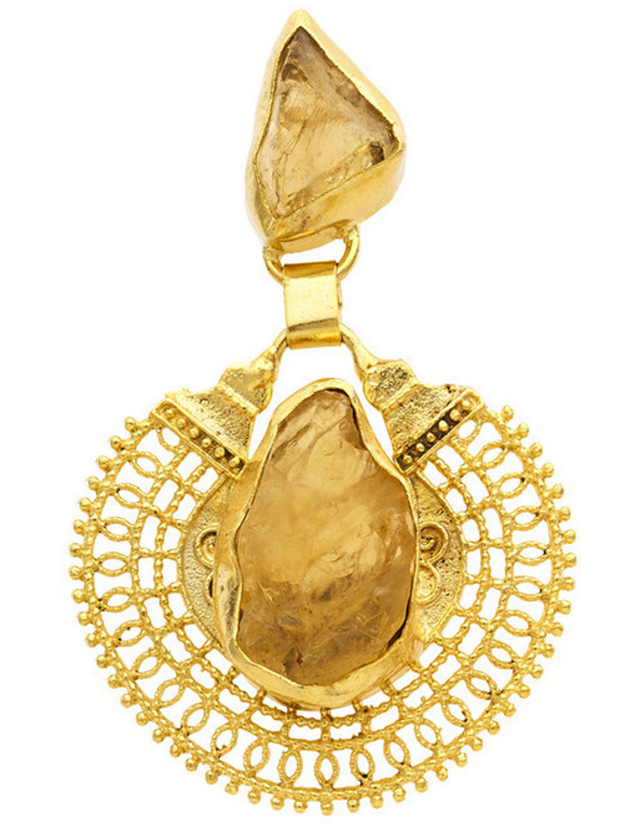 Gold Plate Drop Earrings with Citrine Centre image 2