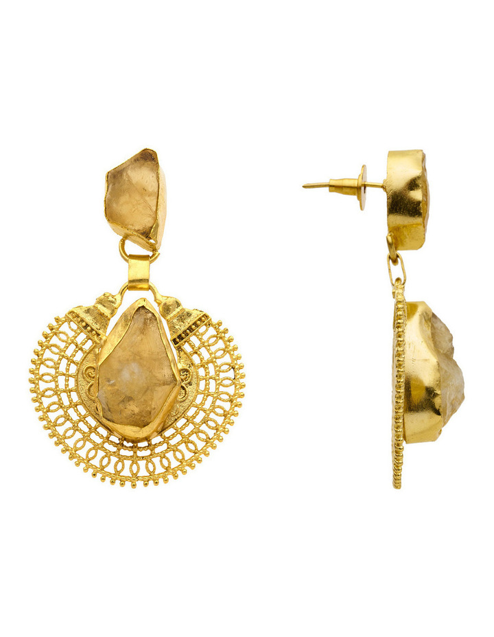 Gold Plate Drop Earrings with Citrine Centre image 3
