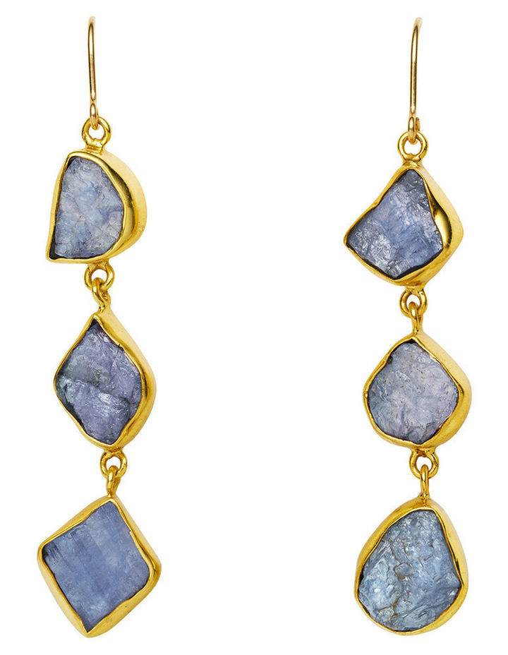 Gemstone Earrings Blue Triple Rock Sapphire with Gold Plate image 1