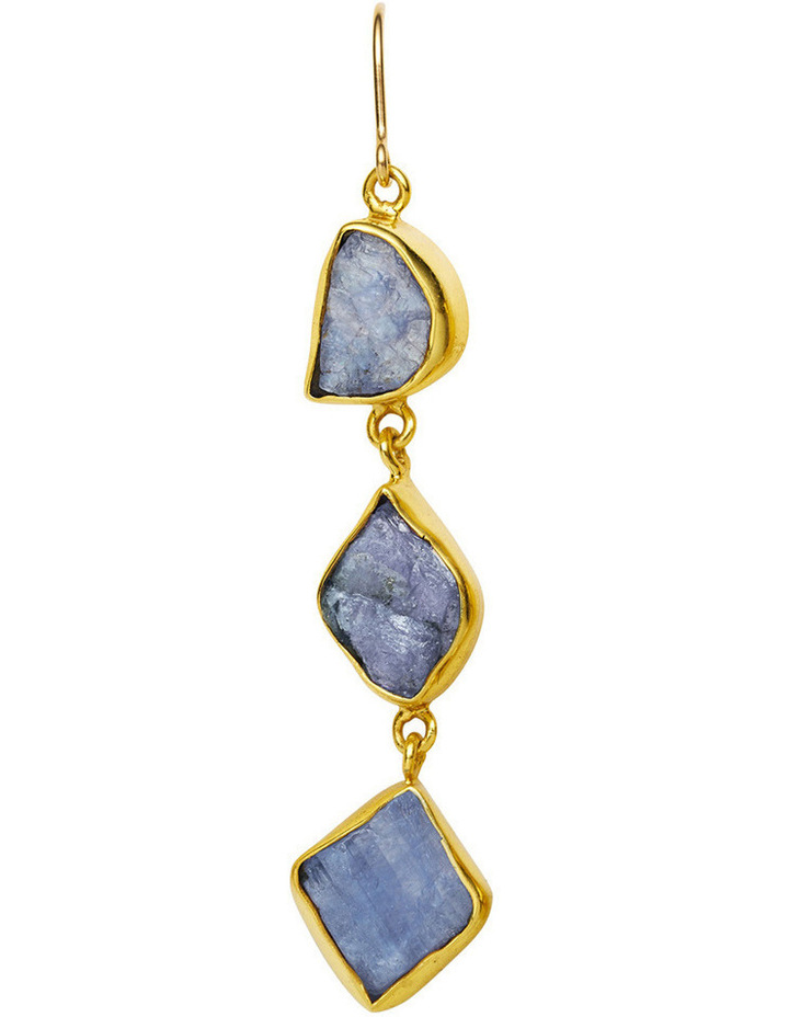 Gemstone Earrings Blue Triple Rock Sapphire with Gold Plate image 2
