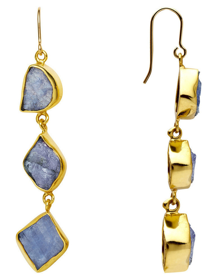 Gemstone Earrings Blue Triple Rock Sapphire with Gold Plate image 3