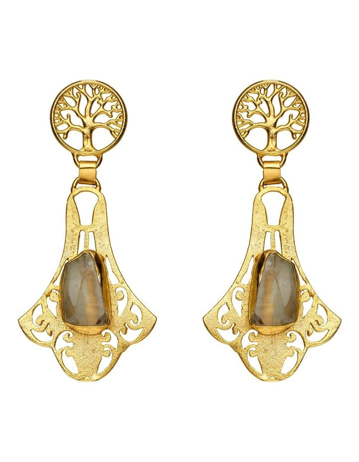 Rock Amethyst Gold Plate Earrings image 1