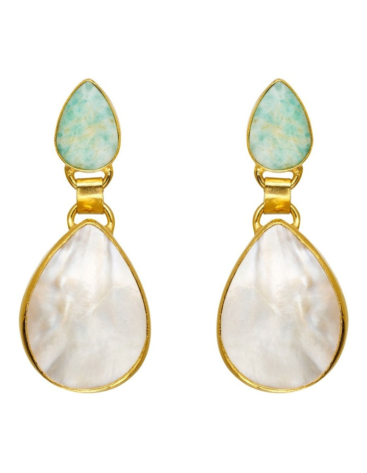 Beryl Mother of Pearl Gold Plate Earrin image 1