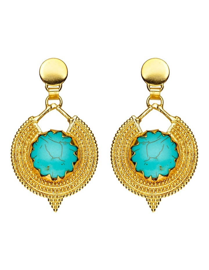 Amazonite Gold Plate Stud Earrings image 1