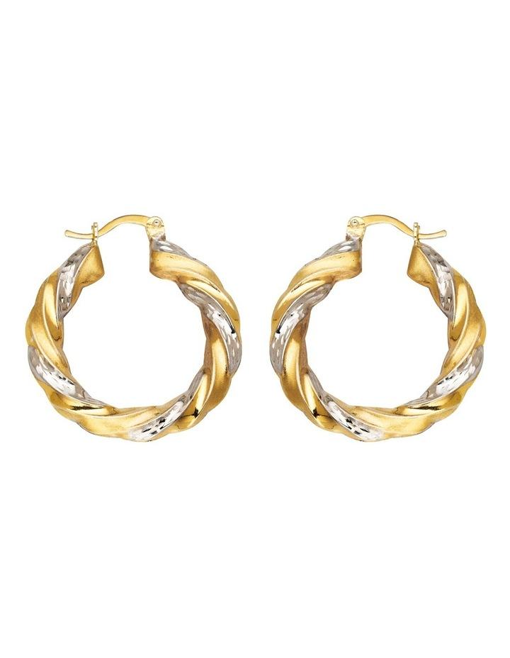 Sterling Twist Hoop Earrings with Gold Plate image 1