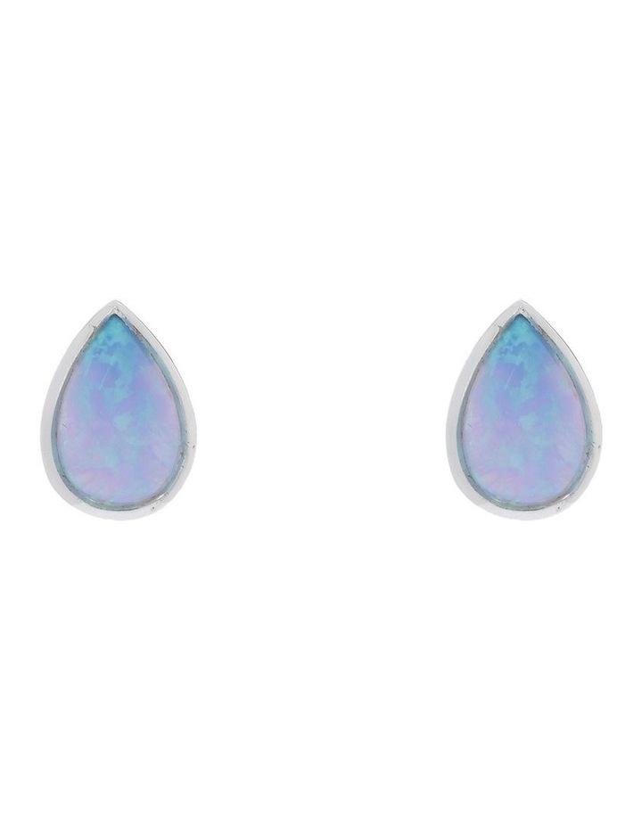 Sterling Silver Pear Shaped Blue Czelline Opal Studs image 1