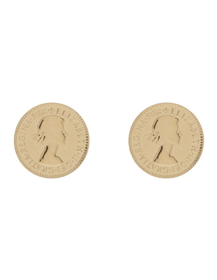Yellow Gold Plated Threepence Coin Stud Earrings image 1