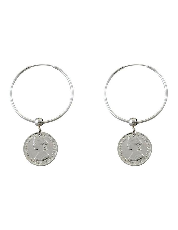 Coin hoop earrings image 1