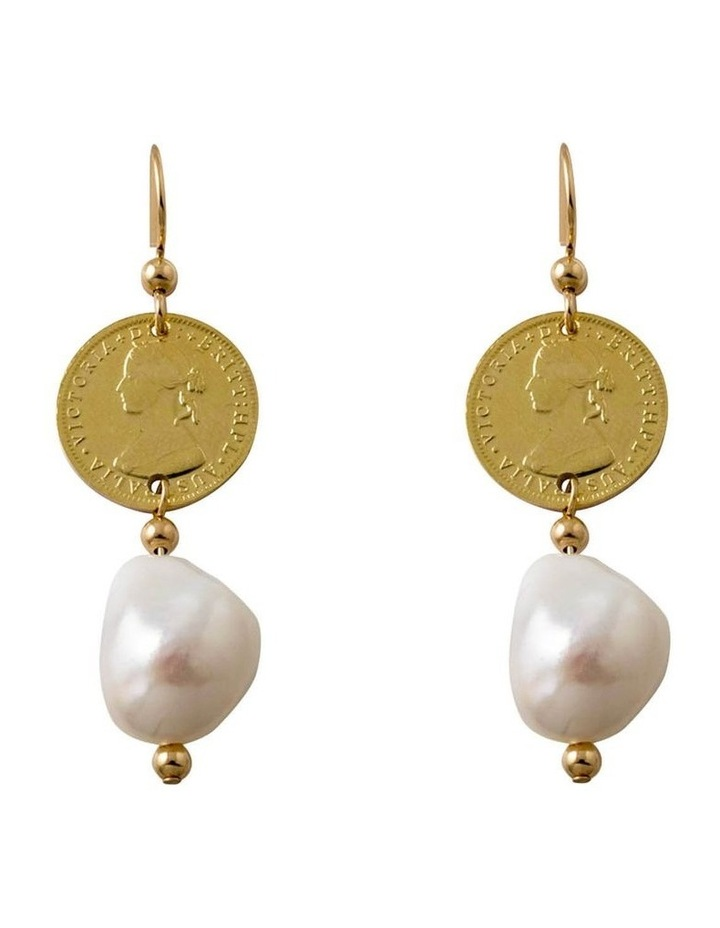 Coin & Baroque Pearl Earrings image 1
