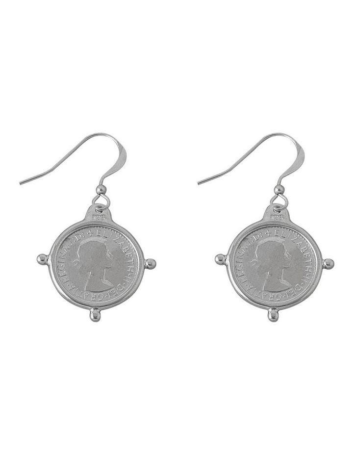 Compass Frame Coin Earrings image 1
