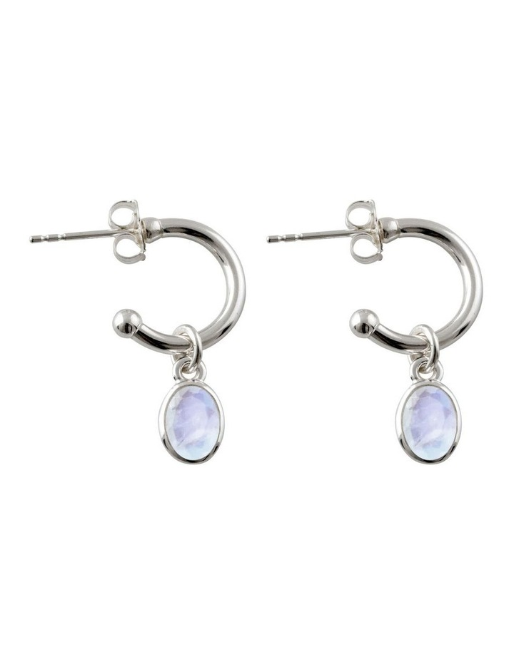 Open Hoop Studs With Oval Moonstone image 1