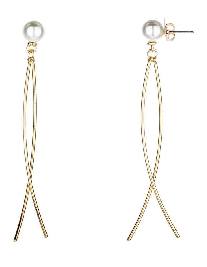 Drop Metal Earrings With Pearl image 2