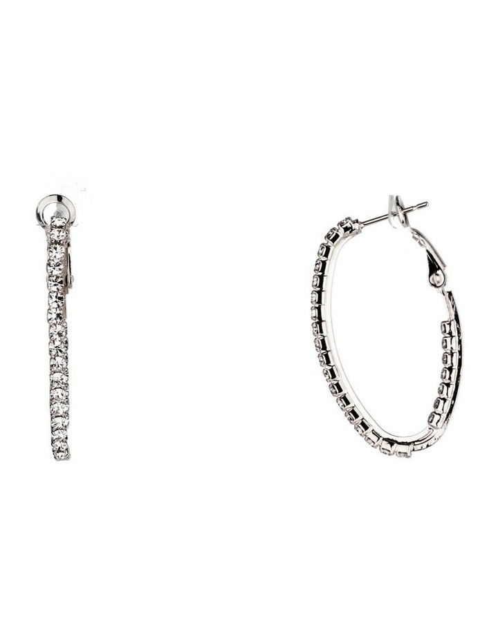 Oval Hoops With Cz Edge And Lever Backs image 2