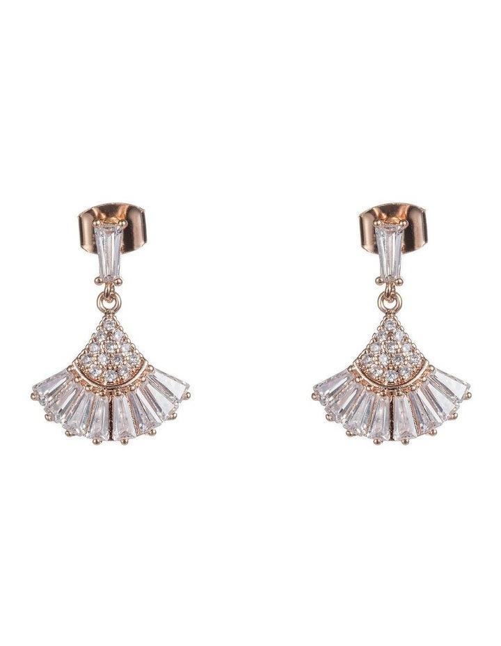 Art Deco Drop Fan Cz Earrings image 1