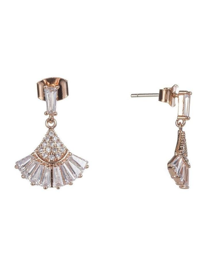 Art Deco Drop Fan Cz Earrings image 2