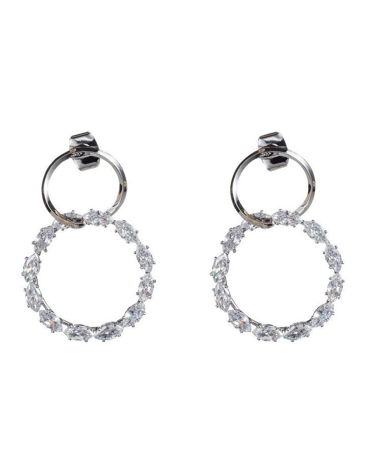 Drop Metal And Cz Circle Earrings image 1