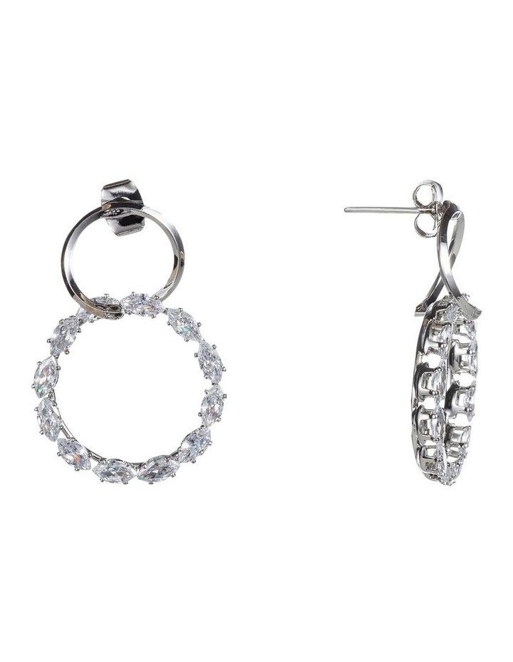 Drop Metal And Cz Circle Earrings image 2