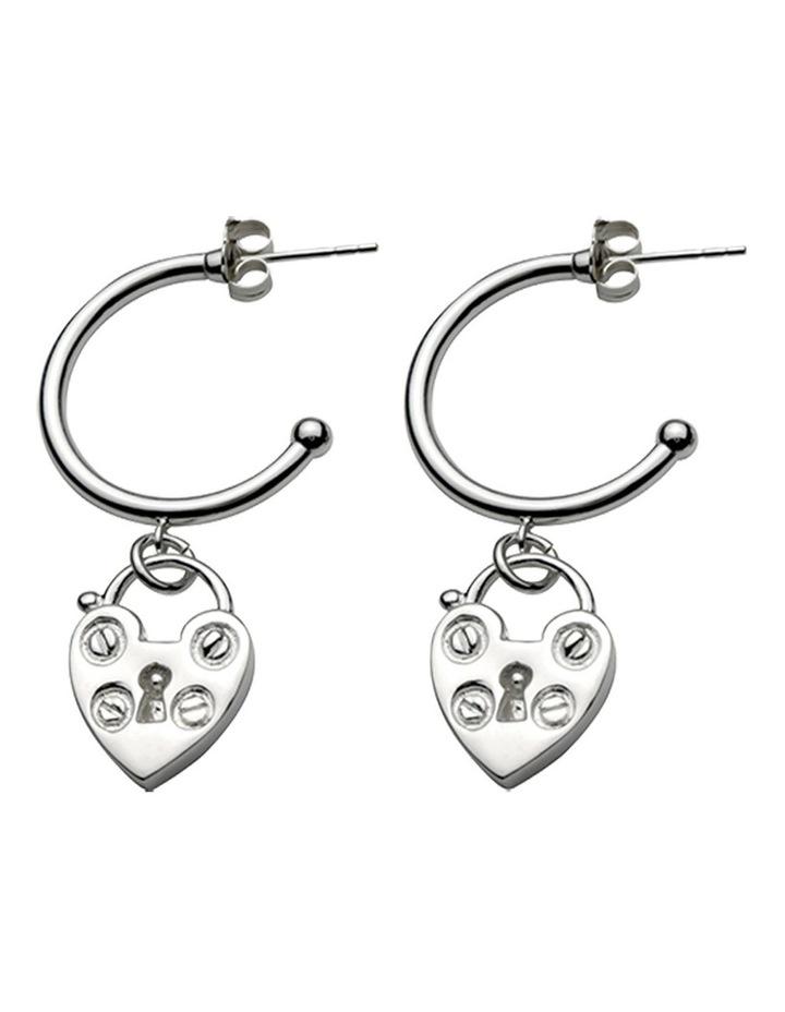 Open Hoop Studs With Mini Heart Padlock Earrings image 1