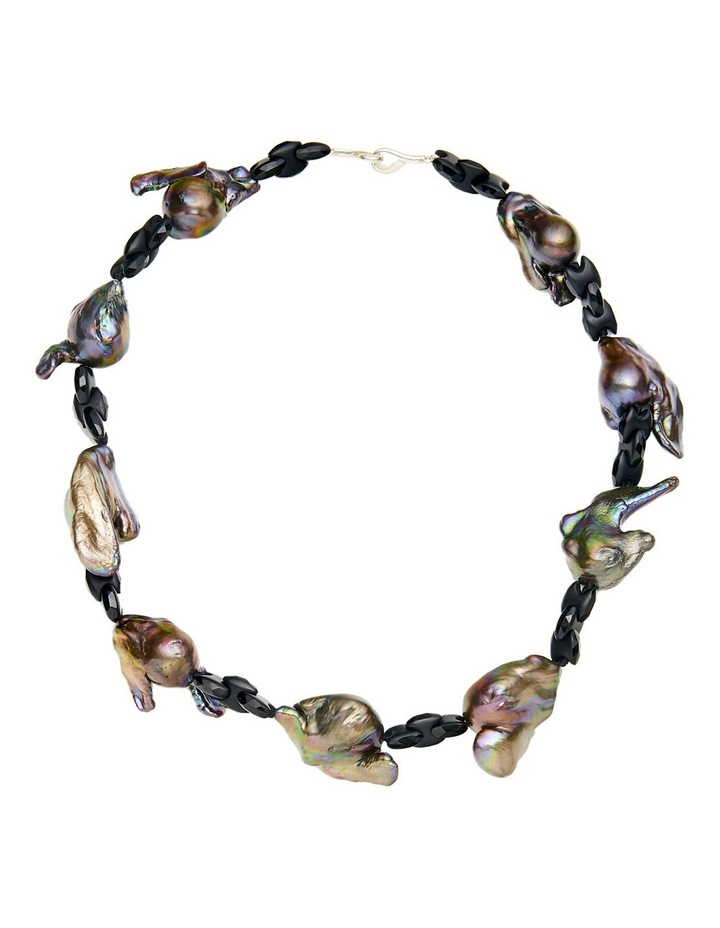 Grey Freshwater Baroque and Onyx Necklace image 1
