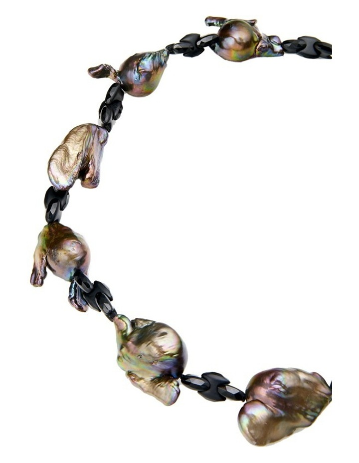 Grey Freshwater Baroque and Onyx Necklace image 2