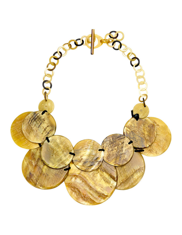 Textured Double Row Resin Disc Necklace with Chain Clasp image 1