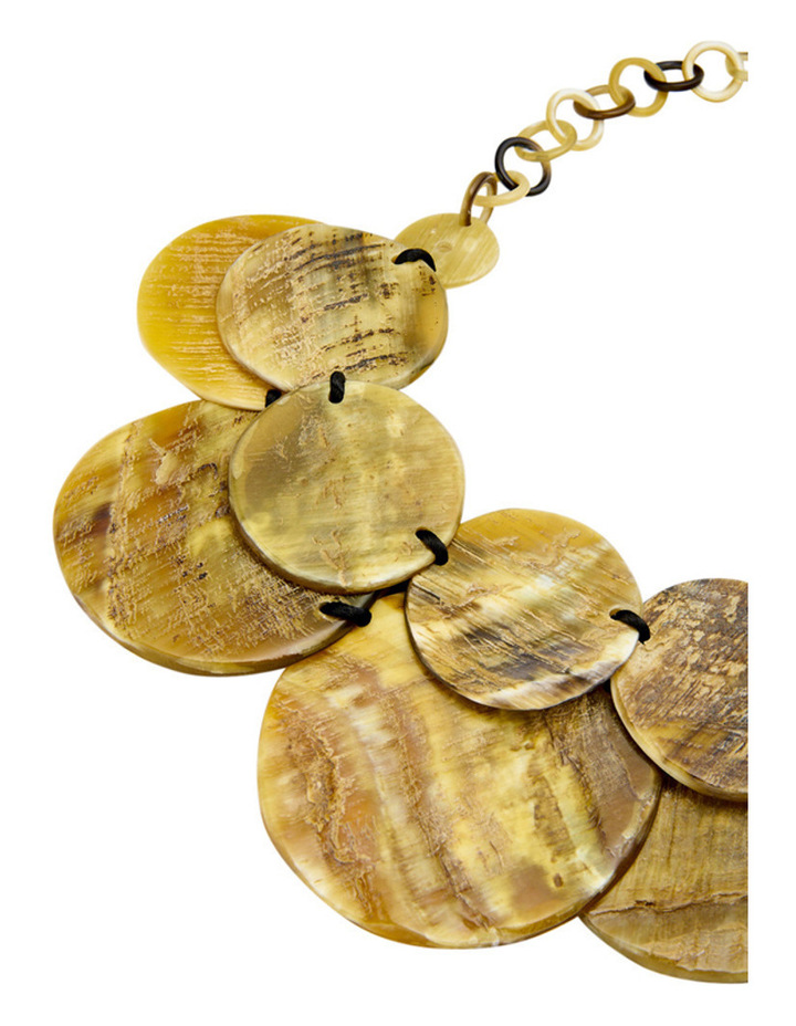 Textured Double Row Resin Disc Necklace with Chain Clasp image 2