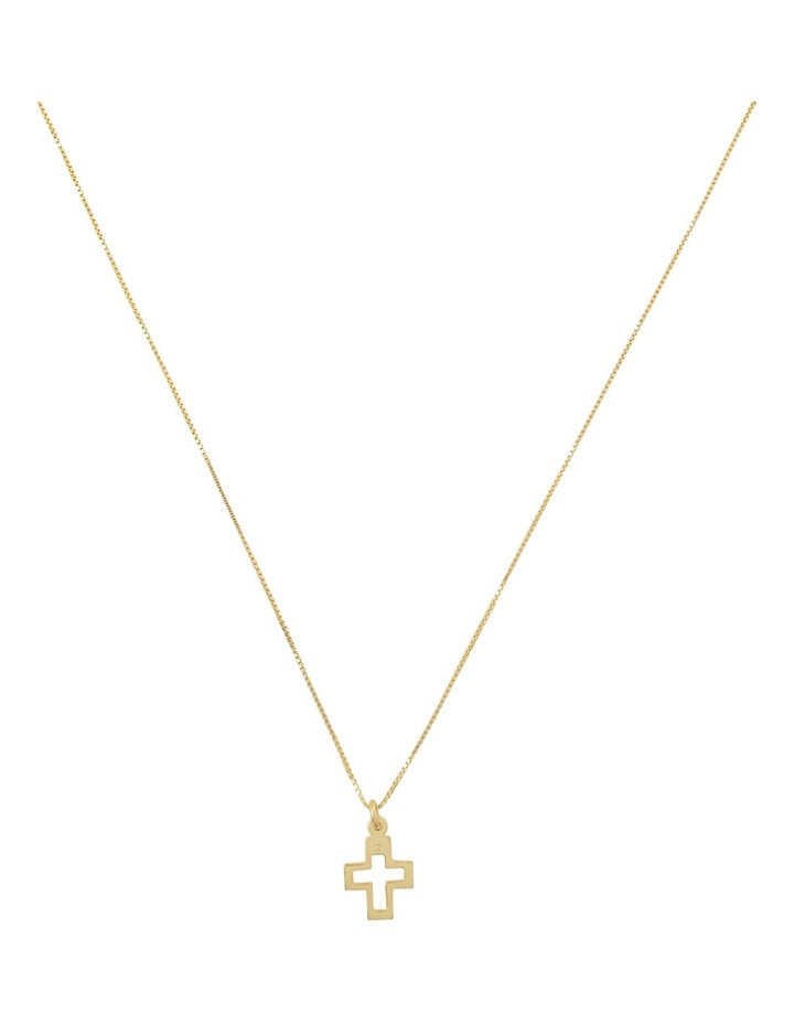Yellow Gold Filled Box Chain Necklace With Gold Plated Open Cross - 42cm Length image 1
