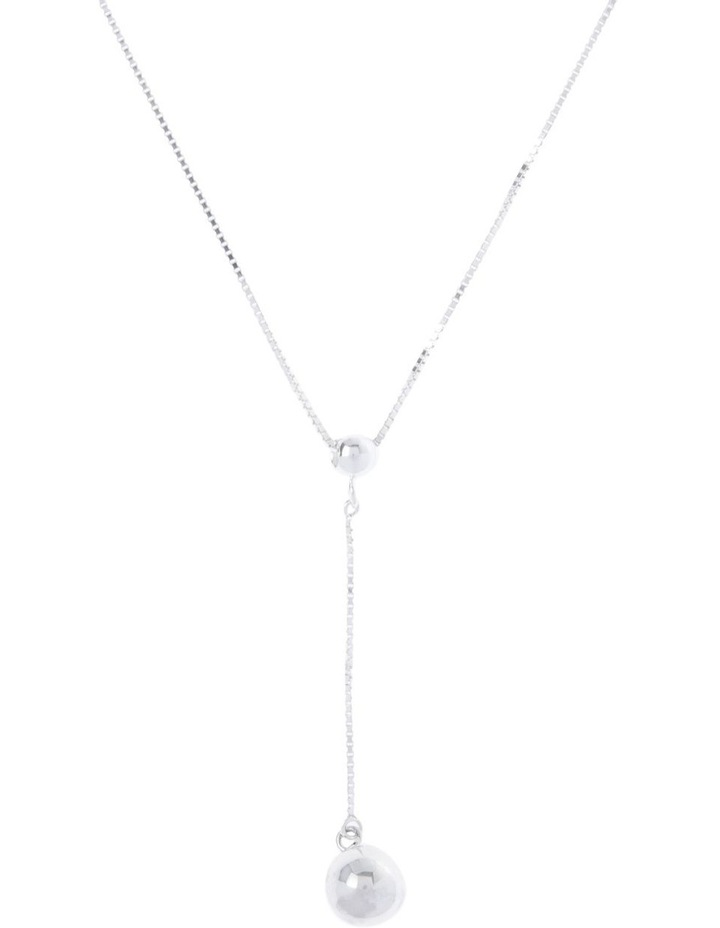 Sterling Silver Fine Box Chain Ball Drop Necklace image 1