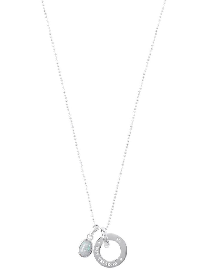 Sterling Silver Fine Necklace With White Czelline Opal & VT Disc image 1