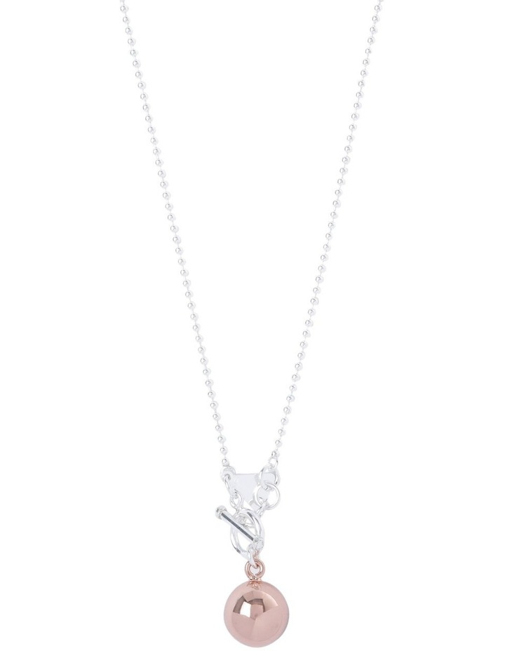 Sterling Silver 80cm Ball Chain Necklace With Rose Gold Chime Ball image 1