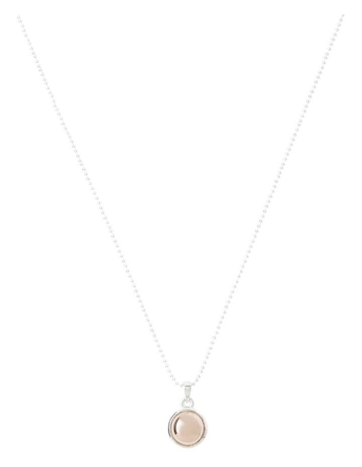 Sterling Silver Fine Ball Chain Necklace With 8mm Round Rose Gold Pendant image 1
