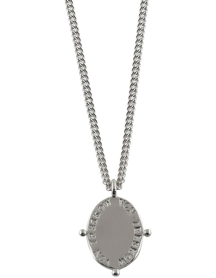 Curb Chain Necklace with Oval Plate image 1