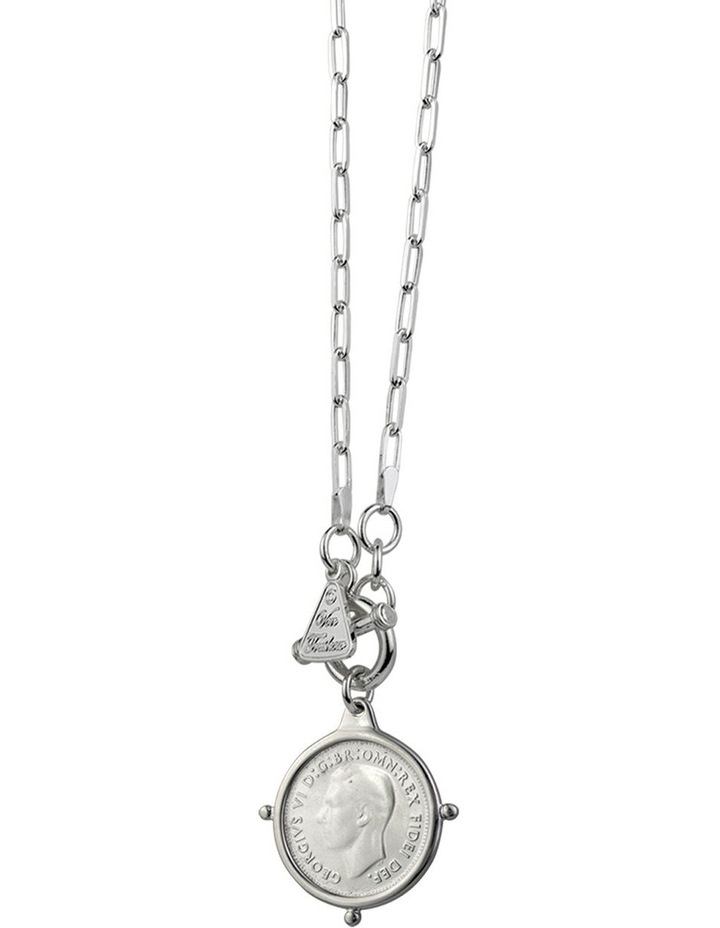 Fine Clip Chain Necklace With Compass Frame Coin image 1