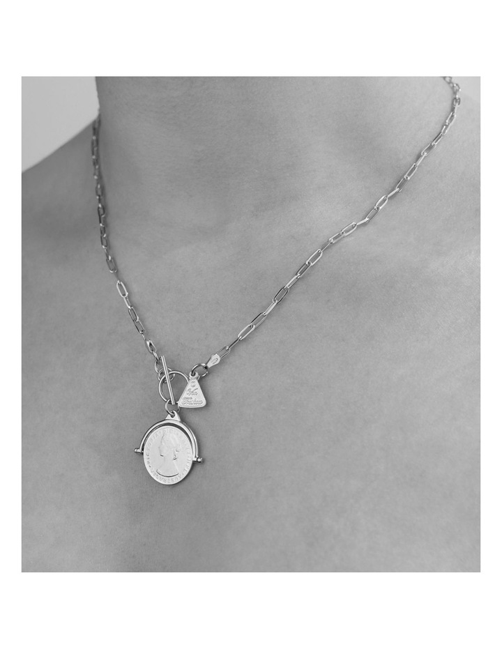 Fine Clip Chain Necklace With Compass Frame Coin image 2