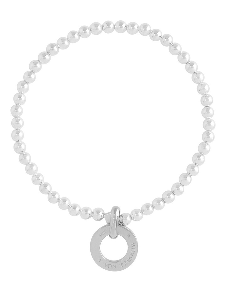 Sterling Silver 4mm Stretchy Bracelet With Sterling Silver Disc image 1