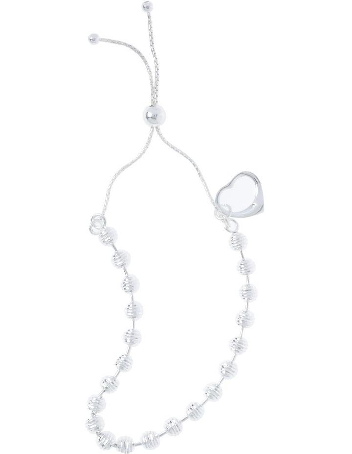 Sterling Silver Adjustable Bracelet With Open Heart image 1