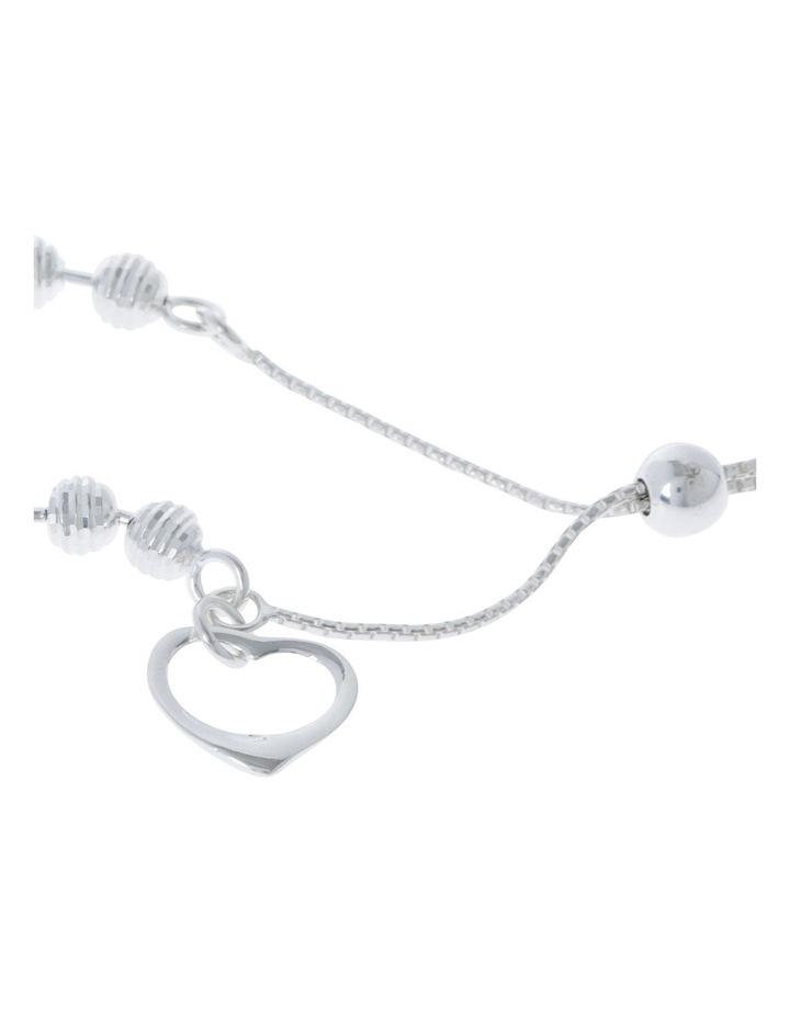 Sterling Silver Adjustable Bracelet With Open Heart image 2