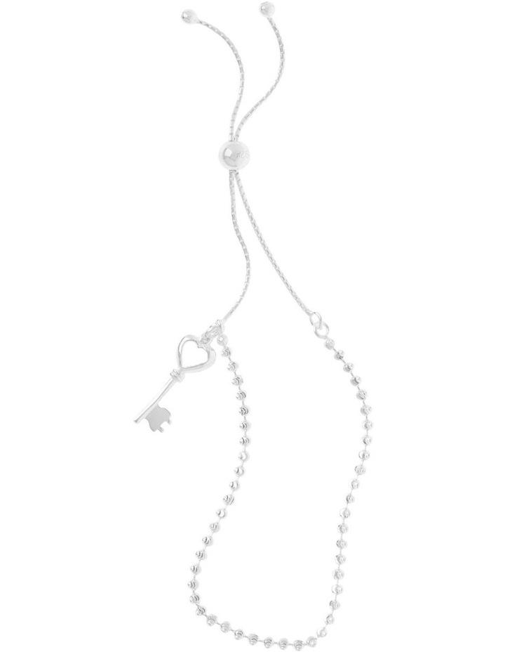 Sterling Silver Adjustable Bracelet With Key Charm image 1