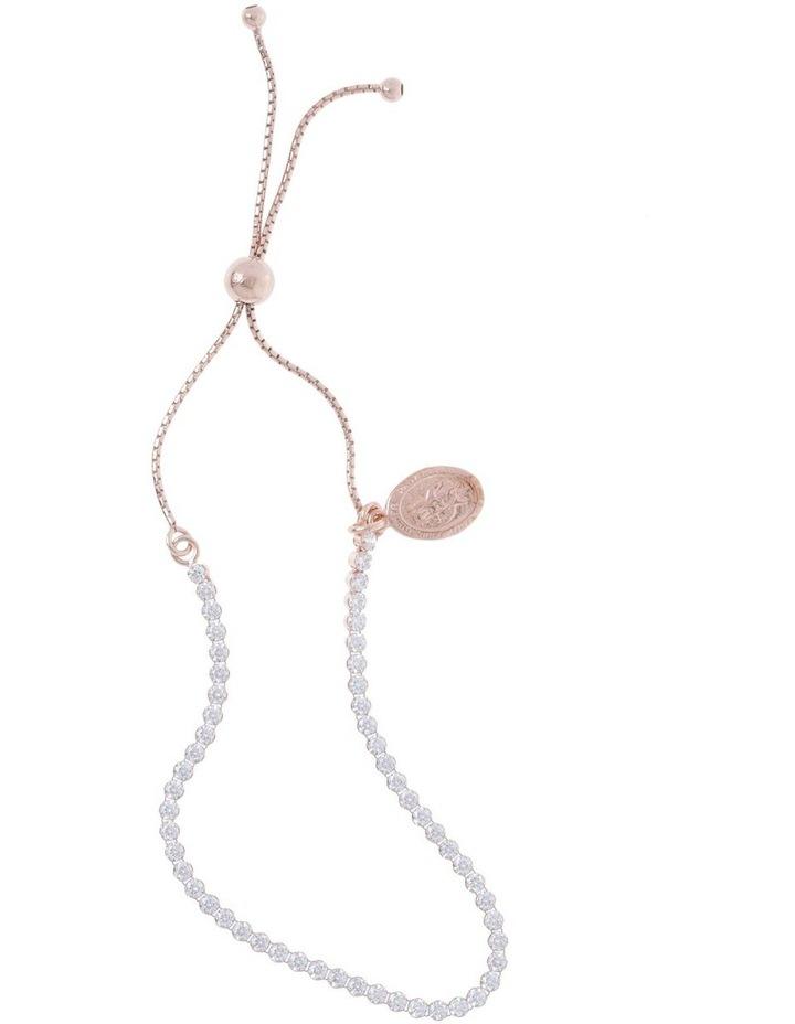 Rose Gold CZ Stone Set Bracelet With St Christopher Medal image 1