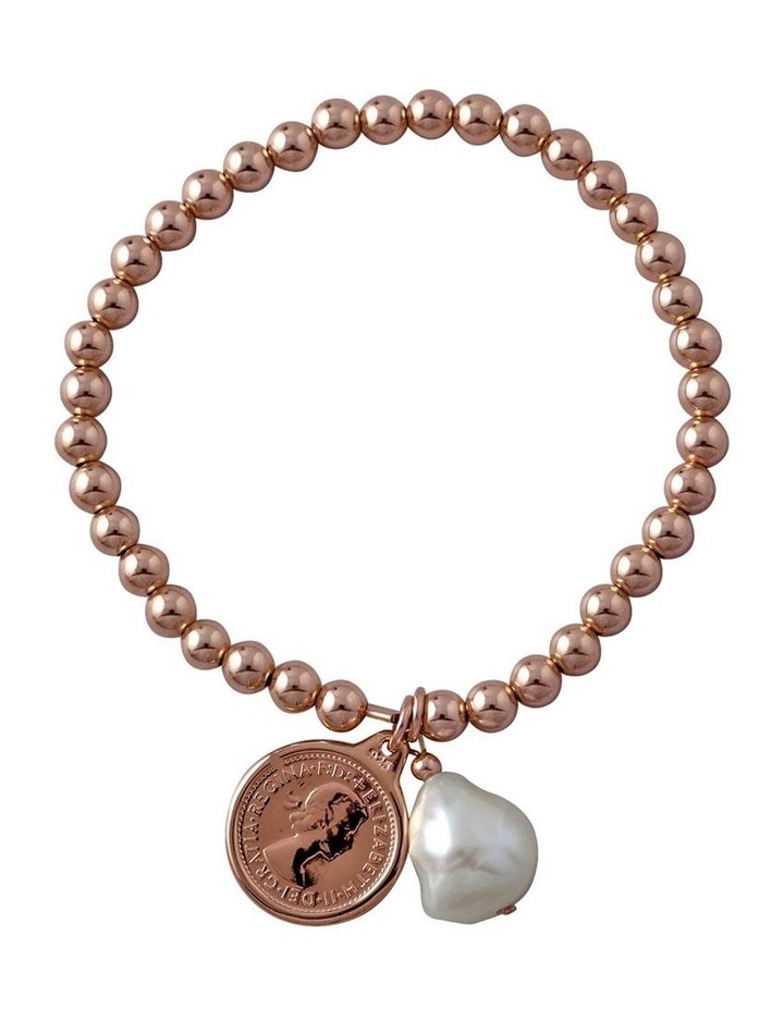 Strethy bracelet with threepence coin & baroque pearl image 1