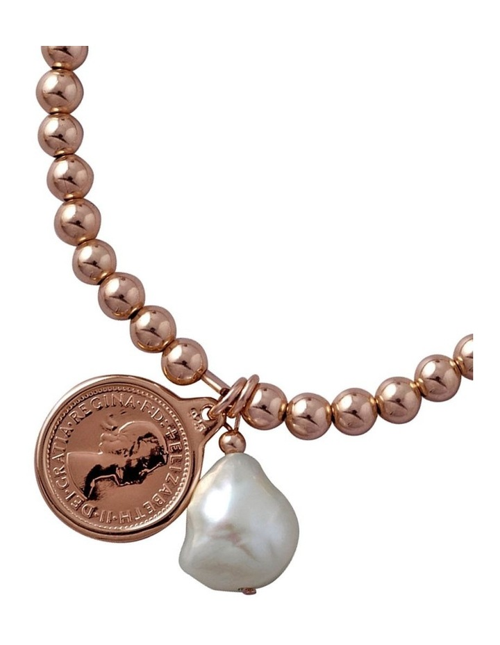 Strethy bracelet with threepence coin & baroque pearl image 2