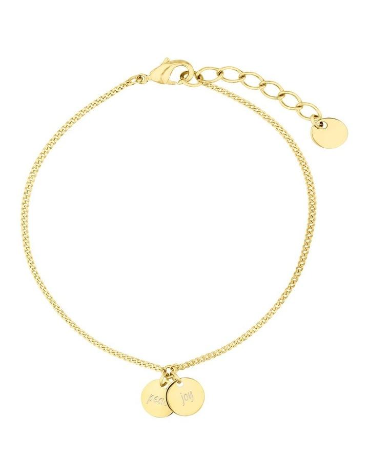 Double Sentiment 0.8 Bracelet - Peace, Joy: YG image 1