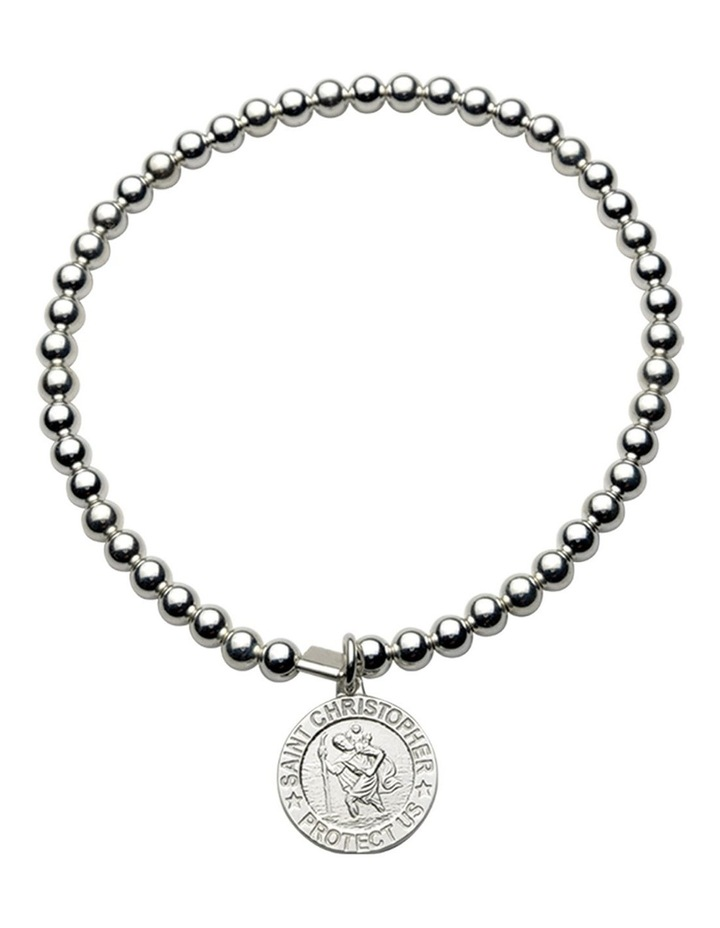 4mm Stretchy Bracelet With Round St Christopher image 1