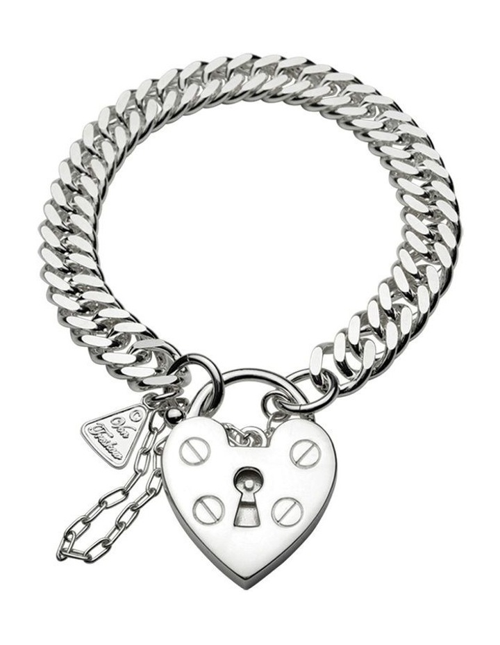 Condensed Curb Bracelet With Heart Padlock image 1