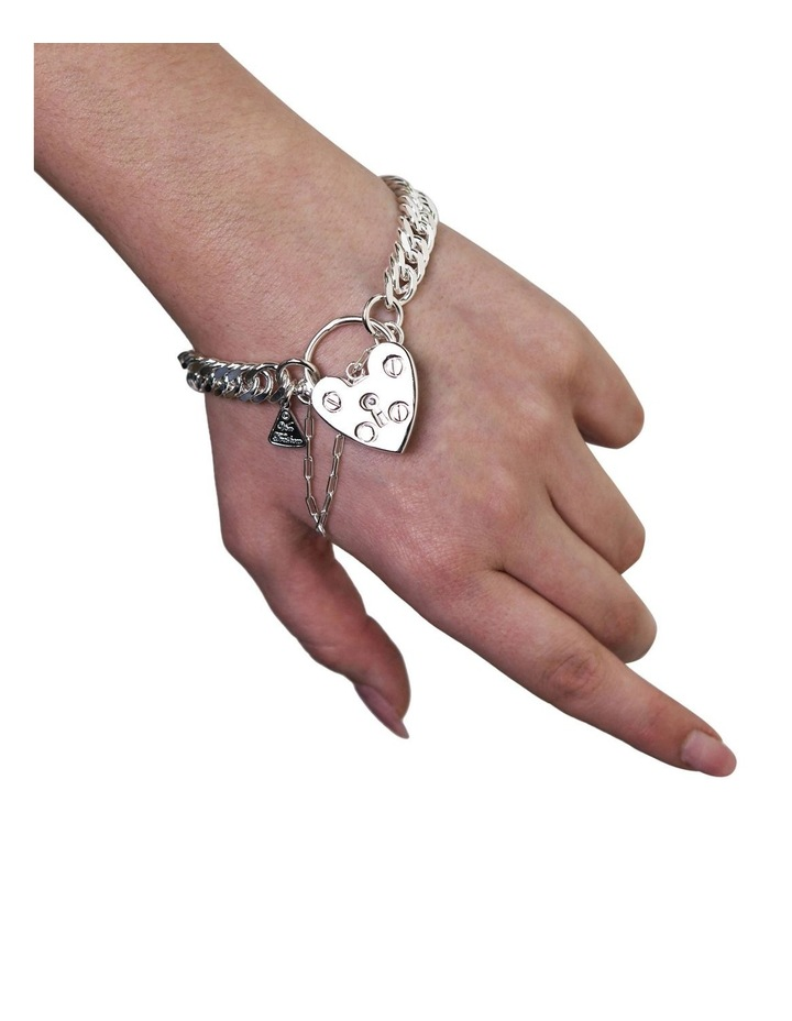 Condensed Curb Bracelet With Heart Padlock image 2