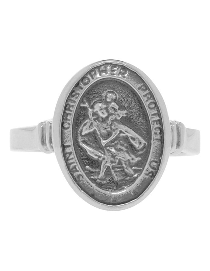 VTR28-P Sterling Silver St Christopher Ring Size P image 1