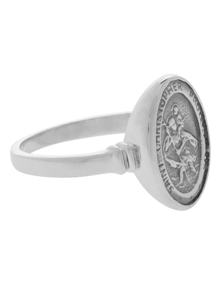 VTR28-P Sterling Silver St Christopher Ring Size P image 2
